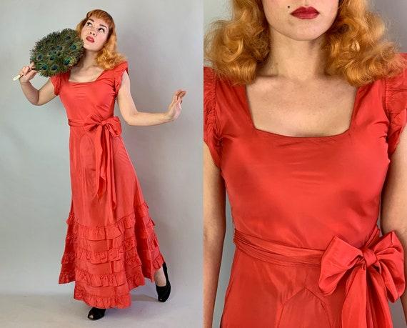 1930s Flirty Flamenco Francine Gown | Vintage 30s Cadmium Orange Silk Taffeta Evening Dress with Ruffles and Extra Long Sash Belt | Small