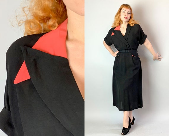 1940s Sassy Sophisticate Two Tone Dress | Vintage 40s Black Rayon Dress w/Asymmetric Collar & Coral Contrast Accents Volup | Extra Large XL