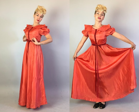 1930s Coral Silk Taffeta Evening Gown | Vintage 3… - image 6
