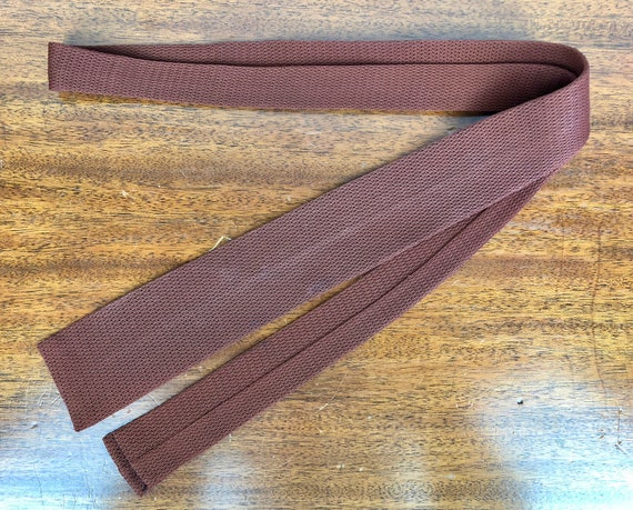 """1950s Mens Woven Necktie   Vintage 50s Self Tie Light Chocolate Brown Rayon Knit Tie by """"Wembley"""""""