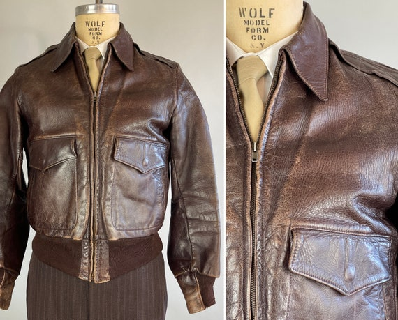 1940s Ready To Ride Jacket | Vintage 40s Walnut Brown Leather A2 Bomber Motorcycle Jacket with Flap Pockets and Knit Accents | Medium