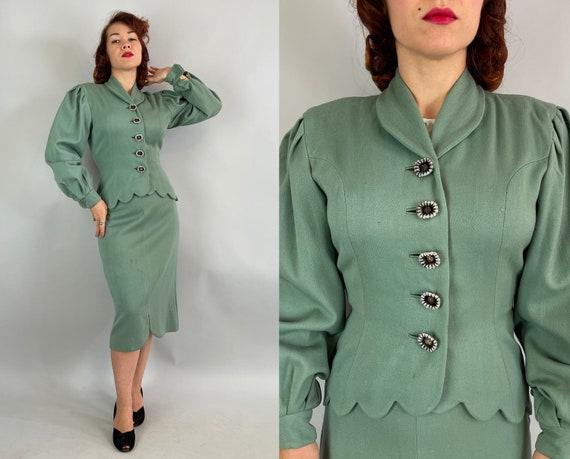 "1940s Sassy Scallops Suit | Vintage 40s ""Lilli Ann"" Sea Foam Green Wool Balloon Sleeve Scalloped Jacket Blazer and Pencil Skirt Set | Small"