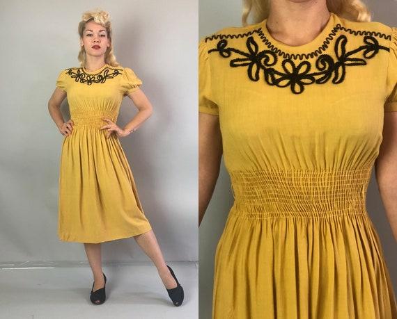 1930s Mustard Yellow Dress   Vintage 30s Cotton Dress w/Dark Chocolate Brown Flower Soutache Accent Puffed Sleeves & Shirred Waist   Medium