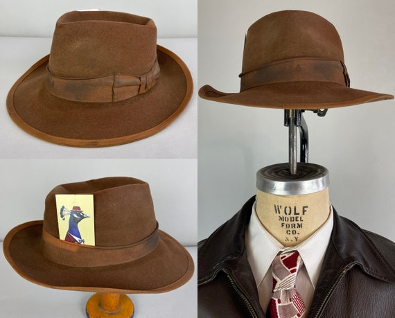 """1940s Indy's Fedora   Vintage 40s """"Knox"""" Cedar Brown Wool Felt Fedora with Copper Grosgrain Ribbon Hat Band   Size 7.25–7&3/8 Large"""