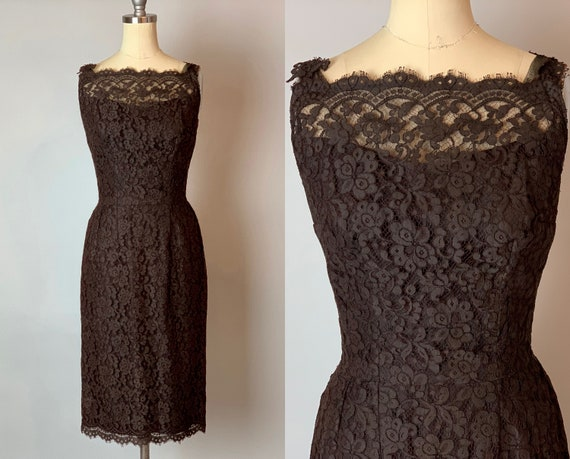 1950s Floral Lace Little Black Dress | Vintage 50s Sleeveless Evening Cocktail Party LBD with Detailed Floral Lace Straps | XS Extra Small