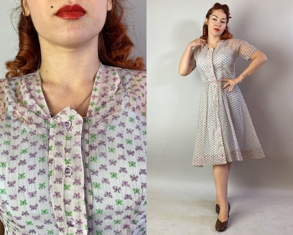 1940s Butterflies & Moonbeams Dress   Vintage 40s Novelty Cotton Voile Sheer Butterfly Party Frock w/Acrylic Crystal Buttons   Medium