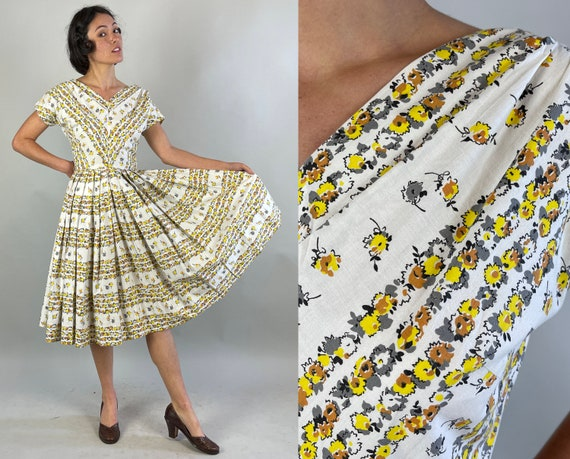1950s Cheery Chevron Stripe Dress | Vintage 50s White Cotton Yellow Orange Grey Flower Pattern Striped Fit and Flare Frock | Extra Small XS