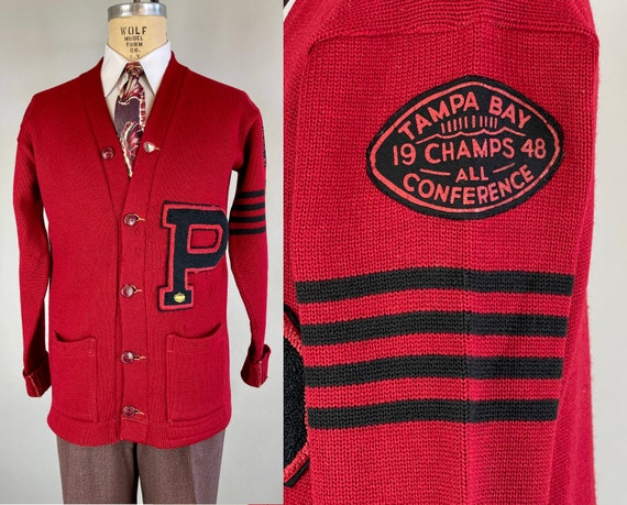 1940s Percival's Champion Cardigan | Vintage 40s Red & Black Collegiate Varsity Letterman Sweater Jumper Dated 1948! | Size 44 Extra Large