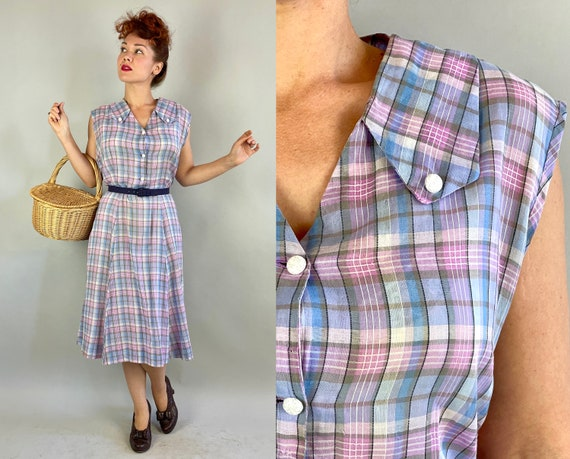 1950s Picnic Plaid Dress | Vintage 50s Purple Blue Black and White Tartan Cotton Voile Shirtwaist Sleeveless Summer Frock | Extra Large XL