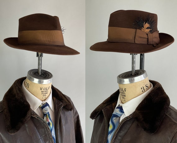1940s Indiana Jones Fedora | Vintage 40s Warm Hickory Brown Wool Felt Hat with Matching Grosgrain Ribbon Hat Band | Size 7 1/8 Medium