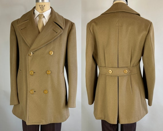 1940s Hometown Hero Coat | Vintage 40s WWII Olive Green Officers Doeskin Wool Barnstormer Mackinaw w/Shawl Collar Belted Back | Medium/Large