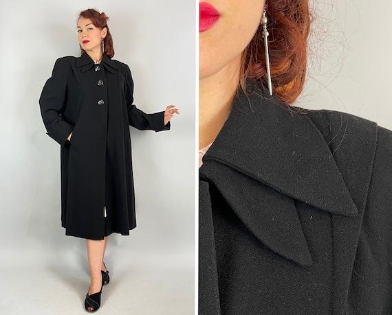 1940s Dashing Details Coat | Vintage 40s Black Wool Crepe Padded Shoulder Overcoat w/Double Collar Sharp Pleats & Streamline Seams | Medium