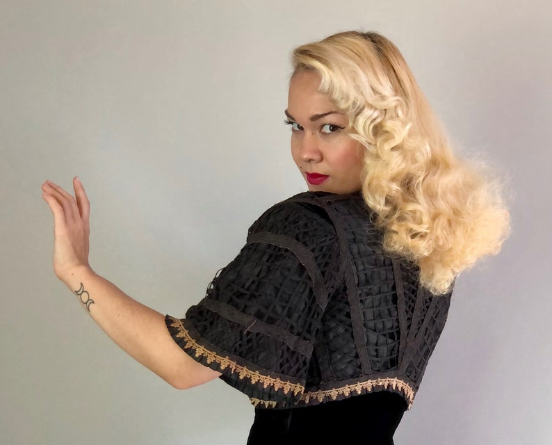 Small Vintage 1900s Jacket Victorian Black Silk Bolero Shrug wLarge Hole Net Outer Ecru Tulip Lace Trim and Elbow Length Bell Sleeves