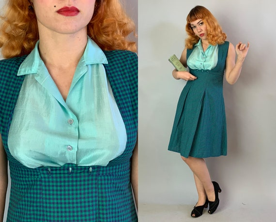 1940s Gingham Plaid Jumper | Vintage 40s Navy Blue and Sea Green Cotton Dress with Inverted Box Pleats and Button Back Waistband | Small