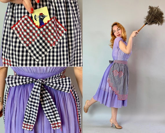 1950s Happy Homemaker Apron | Vintage 50s Black and White Gingham Cotton Half Apron with Red Ric Rac and Embroidery & Valentine Heart Pocket