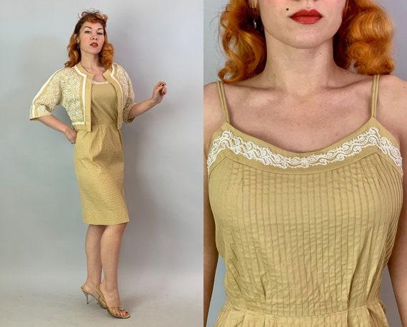 1950s Lovely White Soutache Dress Set | Vintage 50s 'Carlye' Light Mustard Yellow Cotton Sundress and Bolero Jacket Day Dress Set | Small