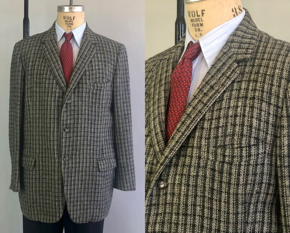1950s Grey Tweed Sport Coat | Vintage 50s Wool 'Penney's Gentry' Single Breasted Three Button Blazer Jacket  | Size 44 Extra Large XL