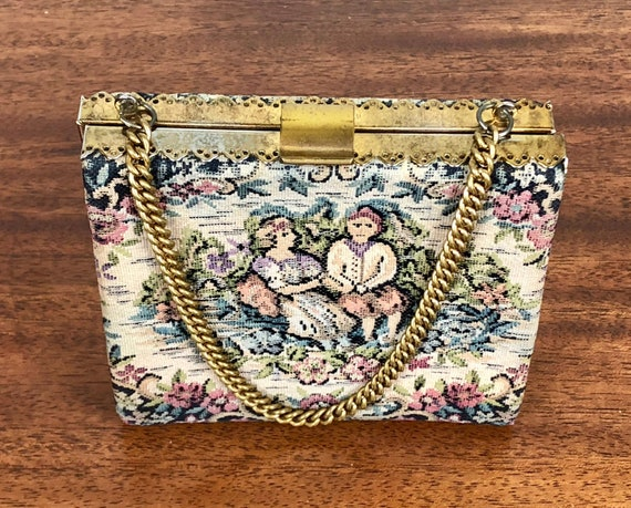 1950s 1960s Tapestry Handbag | Vintage 50s 60s Aubusson Style Purse with Springtime Flowers & Courting Couple Brass Hardware and Chain Strap