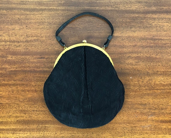 Vintage 1950s Purse | 50s Jet Black Ribbed Rayon Evening Cocktail Clutch Handbag with Gold Tone Trim and Snap Clasp Lined in Champagne Rayon