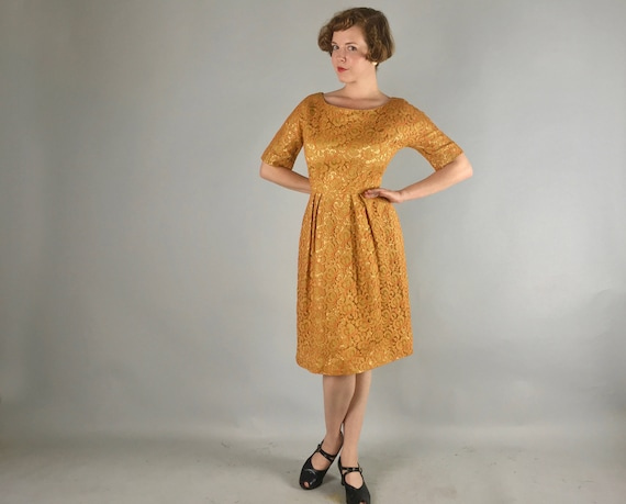 Vintage 1950s Dress | 50s Mustard Yellow Satin-Lined Lace Fit-and-Flare Day-to-Night Cocktail Dress with Tangerine Orange Accents | Small