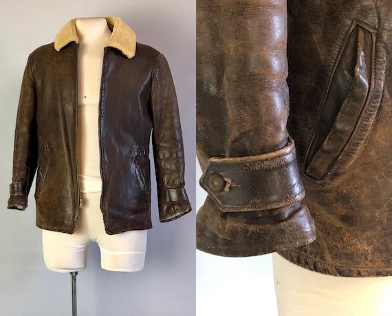 Vintage 1930s Mens Jacket | 30s Walnut Brown Leather Coat w/Sheepskin Shearling Collar Corduroy Hand-Warmer Pockets & Belted Back | Small