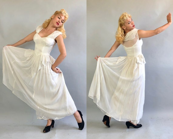 1930s Dress | Vintage 30s Snow White Sheer Nylon and Rayon Satin Evening Ball Gown with Petal Peplum & Sweetheart Neckline | Extra Small XS