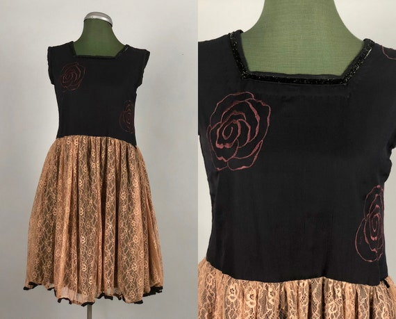 Vintage 1910s 1920s Style Girls' Dress | 10s 20s Style Rose-Embroidered Black Crinkle Silk and Mocha Tan Lace Babydoll Dress | Childs 12-14
