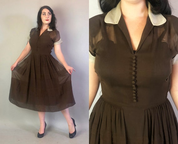 Vintage 1940s Dress   40s Dark Chocolate Brown and White Sheer Cotton Voile Day Dress with Tiered Tucks and Decorative Self Buttons   Medium