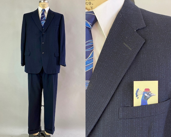 1950s Starry Night Suit | Vintage 50s Midnight Blue Windowpane Weave Flecked Wool Blazer Jacket and Trousers Pants | Size 44 Extra Large XL