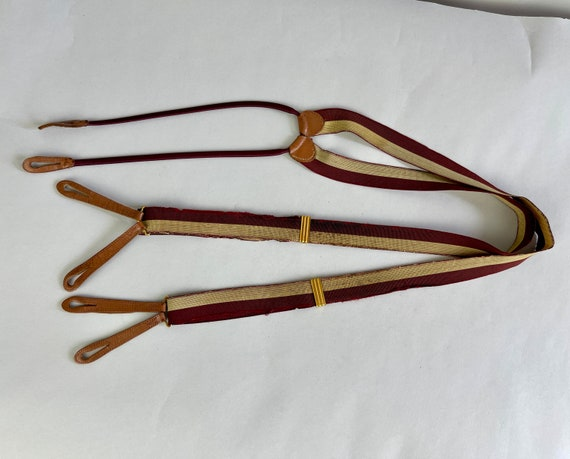 1930s Striped Suspenders   Vintage 30s Maroon Red and White Stripe Elastic and Leather Button Tab Braces with Cord Back Straps by 'Hickok'