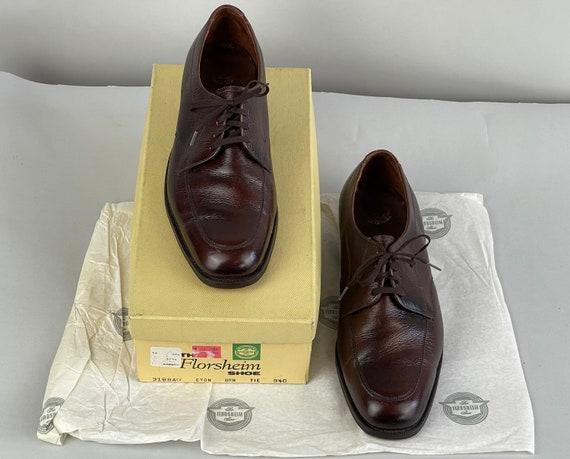 1960s Sporty Florsheim Shoes | Vintage 60s Leather Pecan Brown Apron Toe Eton Oxfords New In Box Deadstock NIB  | Size US 9.5