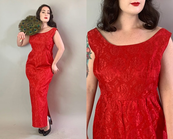 1950s Siren Song Gown | Vintage 50s Lipstick Red Raised Rose Silk Brocade Floor Length Evening Cocktail Dress with Side Slit | Large