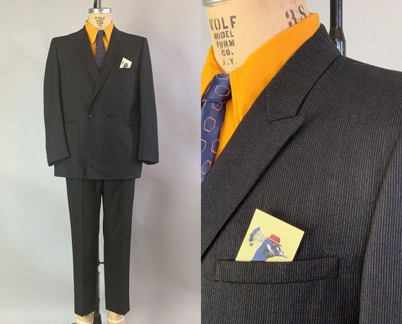 1950s Debonaire Don Two Pieced Suit | Vintage 50s Wool Black with Gray Pinstripes Double Breasted Jacket & Trousers | Size 40 Medium
