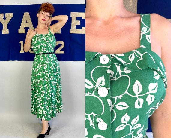 1940s Anna's Apple Orchard Dress   Vintage 40s Green and White Cotton Sun Frock with Fruit Print and Skirt Pocket   Large Extra Large XL