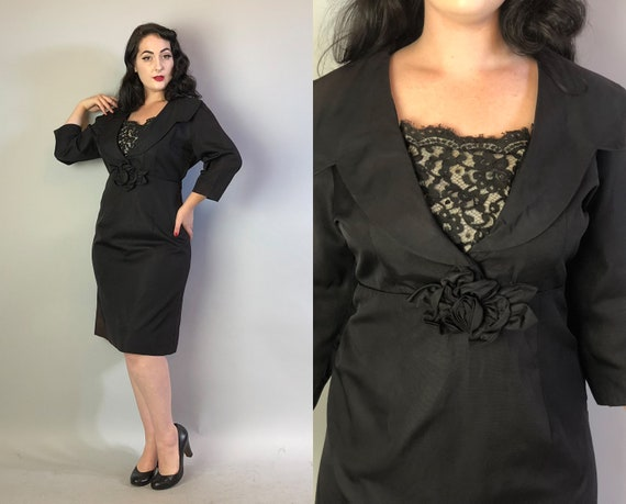 "1940s Faille Cocktail Dress | Vintage Late 40s ""Trulie Young"" Black LBD Party Day Evening Dress w/Lace Modesty Panel 