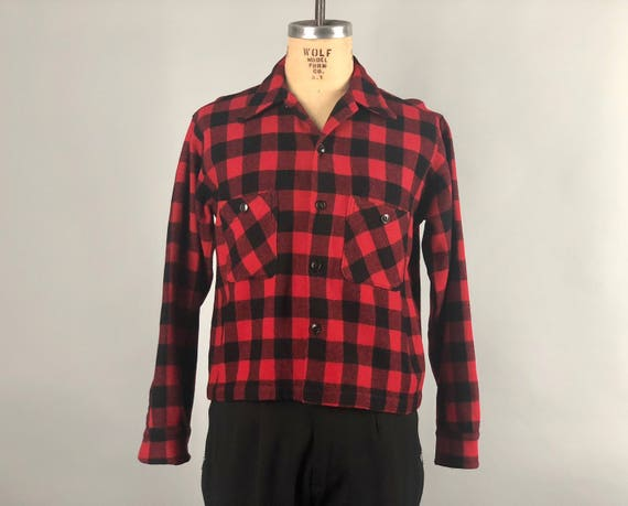 Vintage 1930s 1940s Mens Shirt-Jac | 30s 40s Wool Red & Black Plaid Lumberjack Camp Pendelton Style Outdoors Jacket ShirtJac | Medium/Large