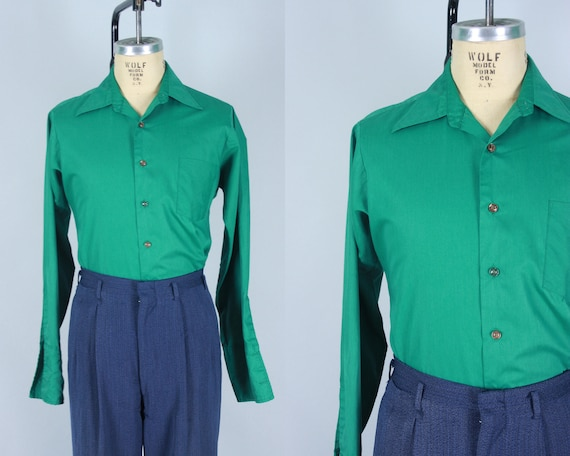 "1960s Men's Kelly Green Shirt | Vintage 60s Button Up Oxford Shirt with French Cuffs ""Hampshire House by Van Heusen"" 