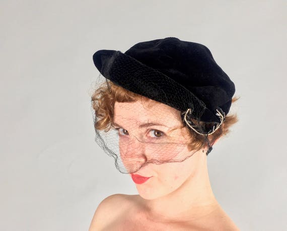 "Vintage 1950s Hat | 50s Black Velvet Cap with Pearl and Bugle Beaded Loop and Veil by ""Valerie Modes"""