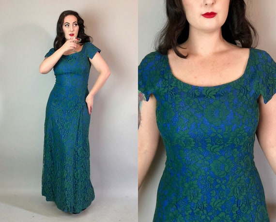 1950s Lurex Mermaid Gown | Vintage 50s Ocean Blue Sparkle Floor-Length Evening Dress with Seaweed Green Lace and Long Hip Pleat | Large