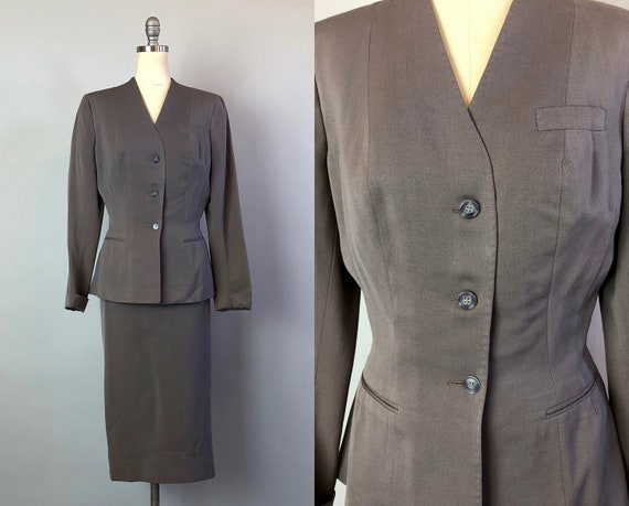1950s Gabardine Womens Suit | Vintage 50s Grey 'Hamilton' Single Breasted Wool Two Piece Blazer/Skirt Suit Dated 1956! | Extra Small XS