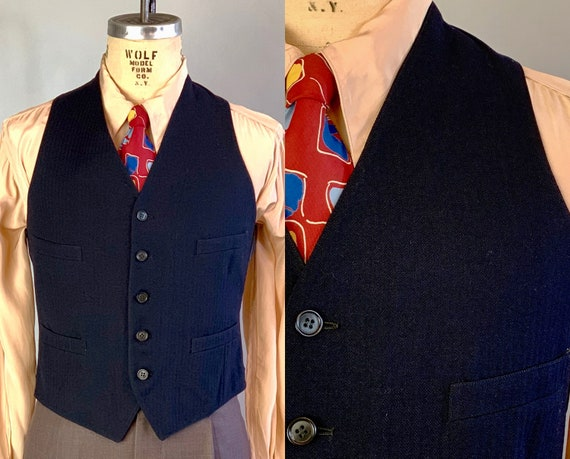 1940s Four Pocket Vest | Vintage 40s Mens Classic Black Woven Stripe Wool and Silk Waistcoat w/Linen Lining and Dated 1942! | Size 38 Medium