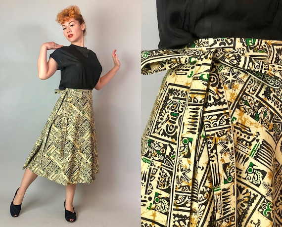 1940s Tiki Novelty Wrap Skirt | Vintage 40s Buttercream Yellow, Black, and Green Cotton Circle Skirt w/ Tribal Print | Small/Medium/Large/XL