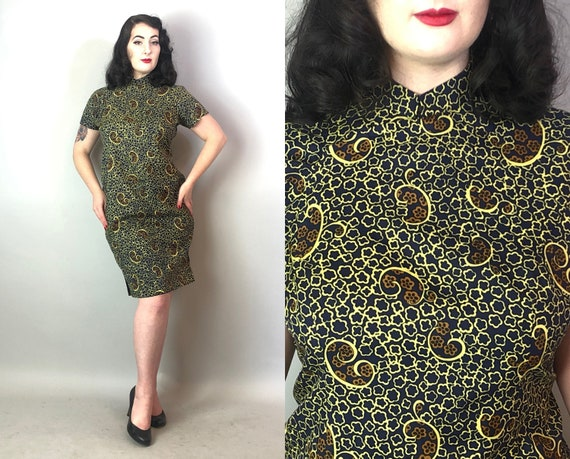 1950s Avant-Garde Atomic Cheongsam | Vintage 50s Navy Blue, Caramel Orange Brown & Beige Off White Silk Qi Poa Party Day Dress |Medium/Large