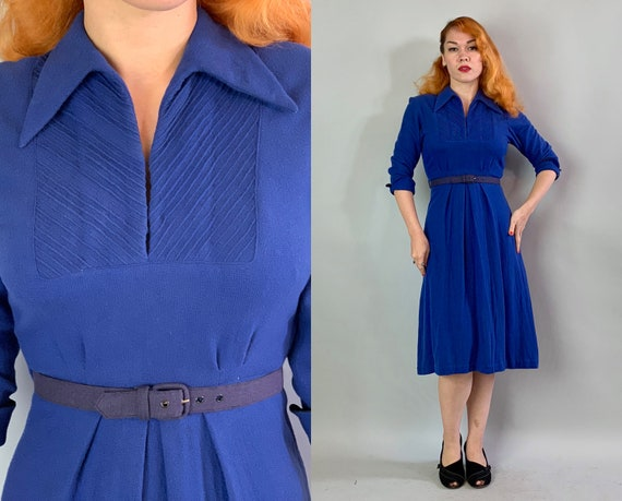 1930s Charming Day Dress | Vintage Art Deco Era 30s Electric Blue Wool Frock with Pointed Collar and Striped Pin Tucked Bands | Small
