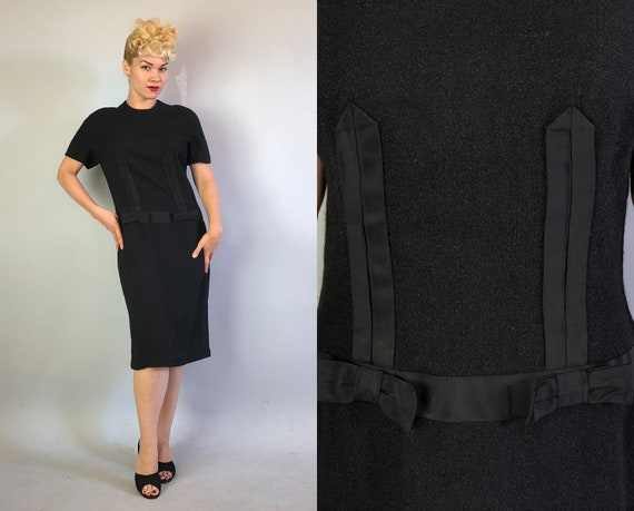 """Vintage 1960s Dress   60s Black Wool Day to Night Shift Dress with Ribbon Bows at Hips by """"Adlmiiller"""" LBD    Medium"""