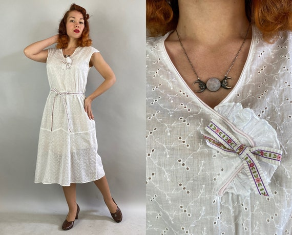 1930s Summer Sweetie Dress | Vintage Early 30s Semi Sheer White Cotton Eyelet Embroidered Day Frock with Floral Ribbon Belt and Bow | Medium