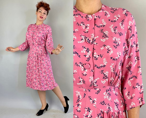 1940s Perfectly Pink Dress | Vintage 40s Bubblegum White and Blue Leaf Vine Print Textured Rayon Frock with Gathered Hip Seams | Medium