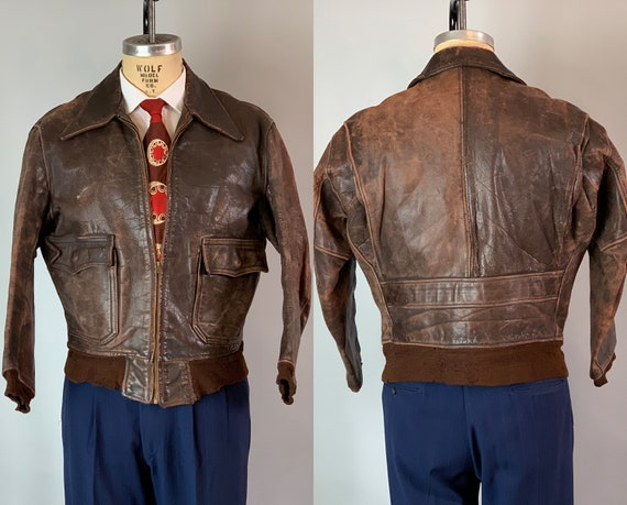 1940s Fly Boy A-2 Leather Jacket | Vintage 40s Chestnut Brown Horsehide Air Force Coat with Back Belt, Knit Cuffs, & Knit Waistband | Small
