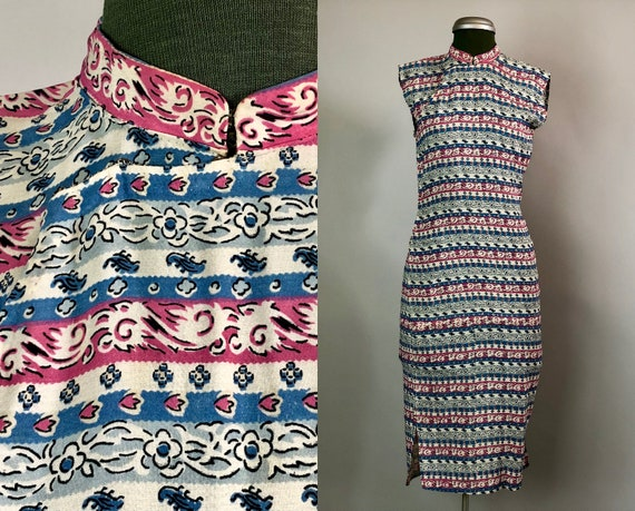 Vintage 1930s Dress | 30s Cream, Pink, and Blue Rayon Qi Pao w/ Horizontal Stripes and Floral Pattern Cheongsam Dress | Extra Small XS