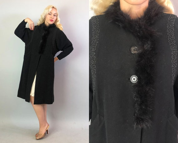 1910s Art Nouveau Coat   Vintage Teens Ebony Black Wool Coat with Fur Collar & Soutache Laced Dolman Style Wing Sleeves   Small/Medium
